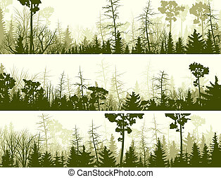 Banners of coniferous wood. - Set vector horizontal banners...