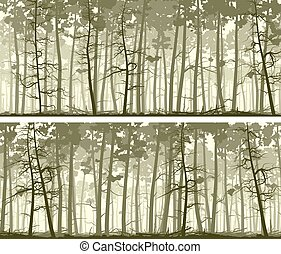Banners of coniferous wood. - Set of horizontal abstract...