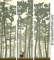 Banners of deer in wood.