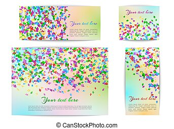 Banners of different sizes with confetti