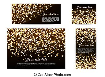 Banners of different sizes with confetti stars