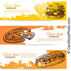 Banners of fast food design. Hand drawn illustrations....