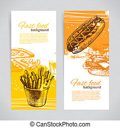Banners of fast food design. Hand drawn illustrations. ...