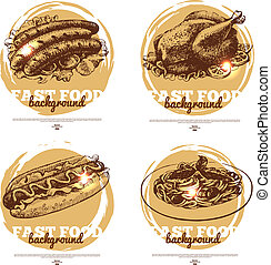 Banners of fast food sketch design. Hand drawn illustrations. Splash blob backgrounds