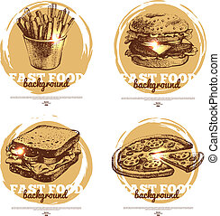 Banners of fast food sketch design. Hand drawn...