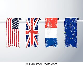 Banners of flags in grunge.