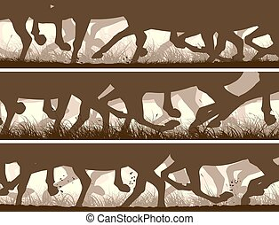 Banners of galloping horses legs.