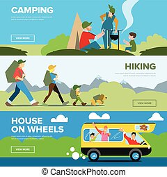 Banners of hiking and family andventure
