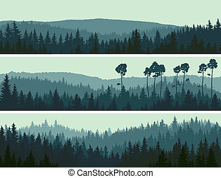 Banners of hills coniferous wood. - Horizontal abstract...