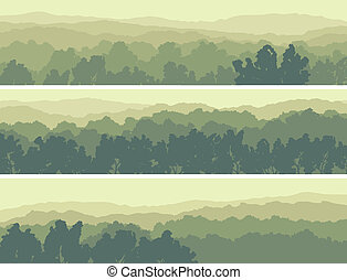 Horizontal abstract banners of hills of deciduous wood in light green tone.