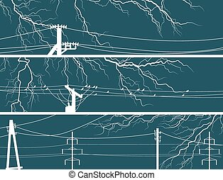 Banners of lightning at night.