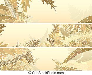 Set horizontal abstract banners of many different yellow herbs and grass.