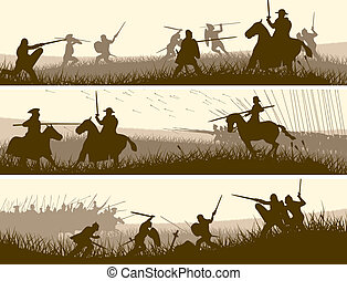 Banners of medieval battle. - Horizontal vector banners of...