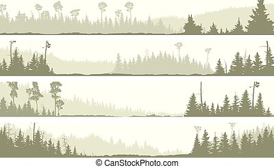 Banners of misty coniferous forest. - Set vector horizontal...