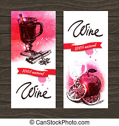 Banners of mulled wine vintage background. Hand drawn watercolor illustrations
