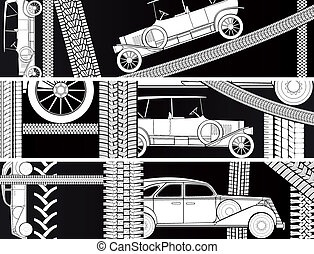 Banners of old vintage car.