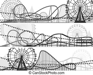 Banners of roller-coaster. - Set of banners of...