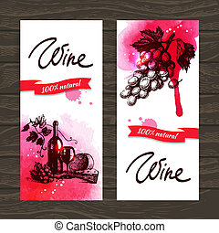 Banners of wine vintage background. Hand drawn watercolor...
