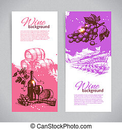 Banners of wine vintage background. Hand drawn...