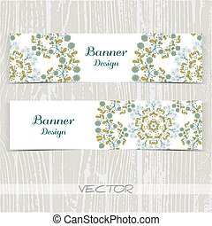 Banners Ornament Blue Flowers