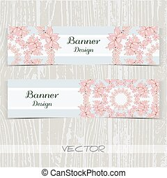 Banners Ornament Pink Flowers