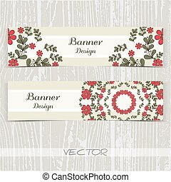 Banners Ornament Red Flowers