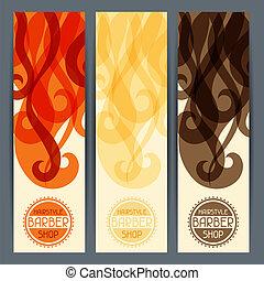 banners., penteado, vertical