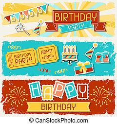 banners., poziomy, urodziny, szczęśliwy