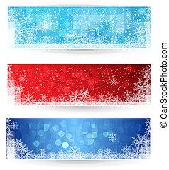 banners., sæt, vinter, jul