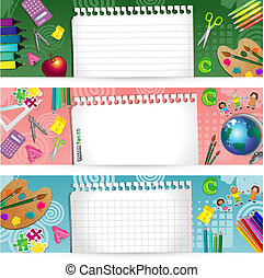 Banners school - Set Banners of paper with school tools-...