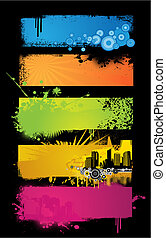 banners., set, colorato