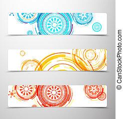 banners., set, colorito