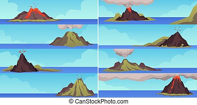 Horizontal banners set depicting various stages of volcano explosion, flat vector illustration. Exploding regurgitating volcano mountain erupting magma and ash.