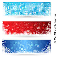 banners., set, inverno, natale
