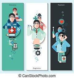 Banners Set Of Doctor Characters - Set of vertical banners...