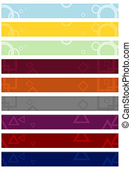 Set of leaderboard banner backgrounds with abstract motifs.