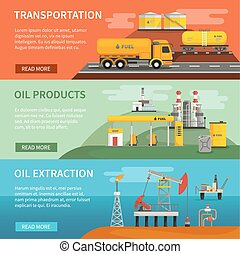 Banners Set Oil Petrol Industry - Flat horizontal banners ...