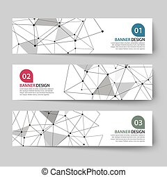 banners set with abstract wireframe