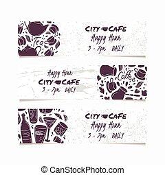 Banners set with hand drawn drinks. Round doodle emblem. Beverages collection for menu, bar or cafe design