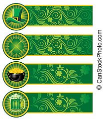 banners., st., set, giorno, patrick's