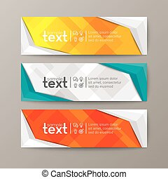 banners template with abstract low poly background - Set of...