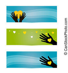 banners templates with hands and hearts