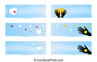 banners templates with hands with hearts