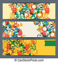 banners., tourisme voyage, horizontal
