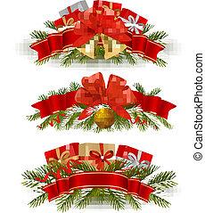 banners., tres, navidad