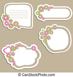 banners., vector, bloem, illustratie