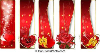 banners., vector., collection, coloré, valentine