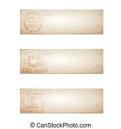 banners., vector, set, chocolade