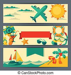 banners., viaggiare turismo, orizzontale