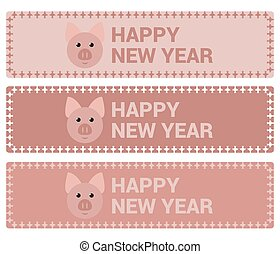 Banners with a pig for the new year